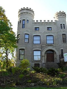 THE IRISH CASTLE Longwood Boulevard in Chicago - In 1886, real estate promoter & novelist Robert G. Givens built a three-story mansion at 103rd St. & Longwood Dr., the two most exclusive streets on Chicago's Far Southwest Side at the time. Designed after an ivy-covered castle in Ireland, Givens' mansion cost $80,000 to build because of the limestone hauled in by oxcart from Joliet. Beverly Unitarian Church bought the Irish castle in 1942.