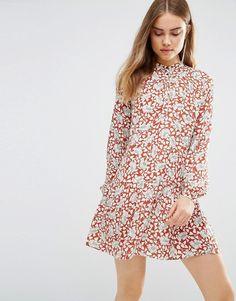 First & I Floral Drop Waist Shirt Dress