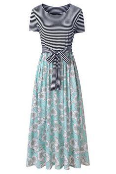 Green Floral Print Striped Casual Maxi Dress – Divas Fashions