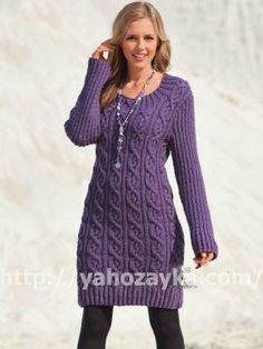 Вязаное мини платье с косами - схема вязания + фото и описание   Я Хозяйка