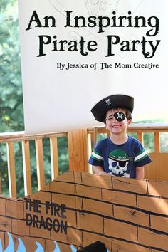 A magical pirate birthday party including tons of DIY elements - a pirate ship made out of a cardboard box, lots of games, cute invitations, darling decorations, a treasure hunt, and more. #pirate #birthday #kids