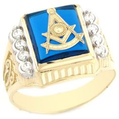 10k Gold Past Master Freemason Masonic Synthetic Sapphire Mens Ring Jewelry Liquidation. $266.98. Comes with FREE fancy black leatherette ring box!. Made with Real 10k Gold!. Made in USA!