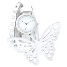 White Leather Strap with Butterfly Charm Strap Watch