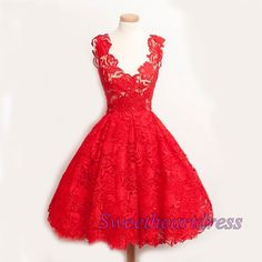 Vintage prom dress, cute red lace short prom dress, bridal dress