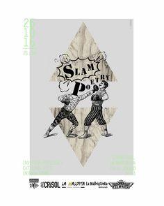 Cartel para Slam Poetry realizado por Pati San Martín. Ilustración · Cartelería · Diseño · Collage