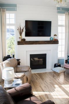 Good Pictures Fireplace Remodel joanna gaines Tips I'm Flying South: The Great Fireplace Remodel: Planked walls, Beam mantels, Built-out surrounds, Tv Over Fireplace, Fireplace Redo, Fireplace Bookshelves, Shiplap Fireplace, Fireplace Remodel, Living Room With Fireplace, Fireplace Surrounds, Fireplace Design, Fireplace Mantels