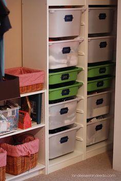 Vinyl Label Intervention Needed is part of Kids closet organization - Diy kids furniture - Vinyl Ikea Bins, Ikea Trofast Storage, Cubby Storage, Lego Storage, Yarn Storage, Playroom Storage, Storage Systems, Closet Storage, Craft Storage
