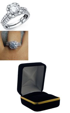 Diamonds and Gemstones 92909: 14K Solid White Gold 2.75 Ct Diamond Halo Bridal Engagement Ring Set Baguette -> BUY IT NOW ONLY: $349.0 on eBay!
