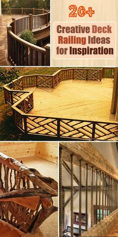 So Many Creative Deck Railing Ideas. Use woods, metal, PVC, glasses or ropes to give your deck a traditional, rustic or exquisite look.