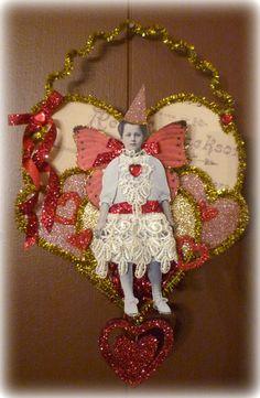 Vintage Inspired Victorian Girl on a Heart Valentine Pocket