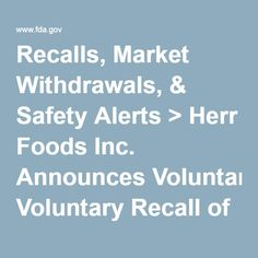 Recalls, Market Withdrawals, & Safety Alerts > Herr Foods Inc. Announces Voluntary Recall of Waffle Works Brand of 4 oz. Double Chocolate Waffle Sandwiches due to Undeclared Milk: Allergy Concern for Those With Milk Allergy