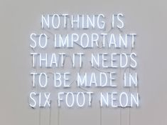 "'Nothing is so important that it needs to made in six foot neon', 2009 _ Neon & transformers, 6' x 6' x 2""_ by Kelly Mark _"