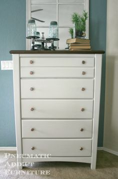 Pneumatic Addict Furniture: Golden Oak Basset Dresser Make-Over, Sub-title: the 90's are Awesome!