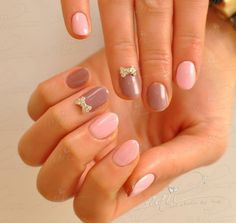 nails manicure   nude pink bows swarovsky