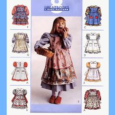530 McCall's 8975 Girls Short or Long Sleeve Dress with Full Skirt & Pinafore, 8 Great Looks Childs sizes 4 5 6 Sewing Pattern by ladydiamond46 on Etsy