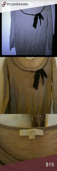 Cute Loft sweater Beautiful loft sweater with bow and jewels at the neck quarter length sleeves small unnoticeable snag in front and bow lose on one side LOFT Sweaters Crew & Scoop Necks