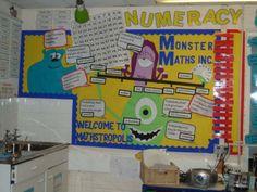 Monster Maths et Monstropolis! Maths Classroom Displays, Teaching Displays, Ks2 Classroom, Maths Display, Class Displays, Disney Classroom, School Displays, Classroom Themes, Maths Working Wall
