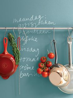 Grocery list on the wall. Colored Chalkboard Paint, Kitchen Rules, Distressed Painting, Milk Paint, Color Photography, My Room, Interior Inspiration, Home Kitchens, Living Spaces