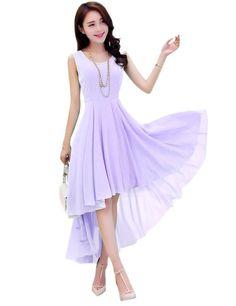 Dasior Women's Long Chiffon Dresses for Junior Graduation Party M Lavender