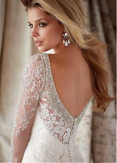 Glamorous Tulle Long Sleeves Sweetheart Neckline Natural Waistline Mermaid Wedding Dress With Lace Appliques #blowout