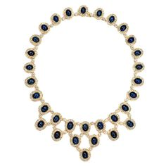 Spectular Cabochon Sapphire and Diamond Necklace