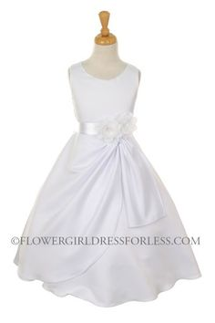 CC_1165W - Girls Dress Style 1165- Choice of White or Ivory Dress with White and Flower - First Communion Dresses - Flower Girl Dress For Less