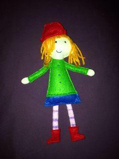 Peg felt doll design based on Peg stick puppet found on pbs peg + cat website.