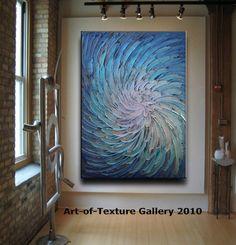 30 x 40 Original Abstract Texture Modern Blue by artoftexture