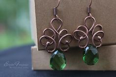 Copper+Wire+Jewelry | Copper wire wrapped set with green crystal drops4.w