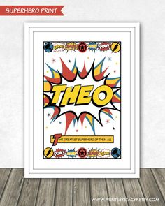 Personalised Printable Wall Art . . . Superhero Themed . Comic Book Style . Children's Name . Print at Home .