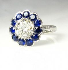 3.61ct Estate Vintage Platinum Round Cut Diamond  Cluster , Fashion, Engagement Ring with Sapphires