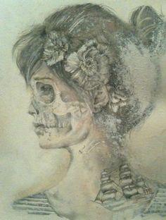 #girl #skeleton #illustration #flower