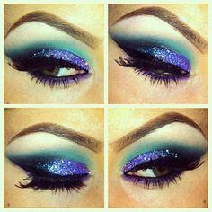 purple, black, blue, glitter, makeup