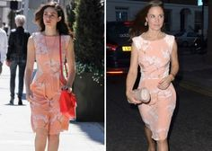 WHO WORE IT BETTER?    Emmy Rossum and Pippa Middleton both wore this peach Tabitha Webb Breast Cancer Summer Blossom dress, but who wore it better?