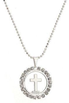 Gargantilha de bolinhas folheada a prata e medalha com cruscifixo e strass