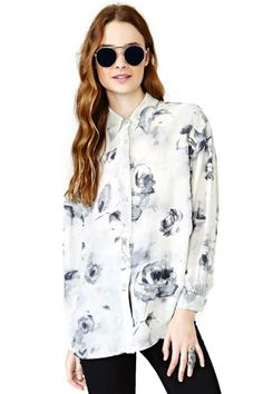 Bloom Shadows Silk Blouse