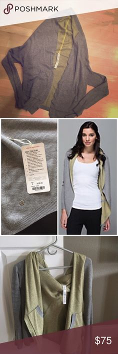 Lululemon cabin yogi wrap This cardigan is part hoodie and part wrap. A cozy wrap that is REVERSIBLE made with double knit boolux fabric which is a blend of cashmere, TENCEL and rayon.  It has pockets on both sides and thumbholes to keep warm.  Worn twice. Like new!! Comes with original tag and shopping bag. lululemon athletica Jackets & Coats Capes