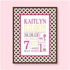 Birth Stat print baby girl nursery wall art Ava by YassisPlace, $18.00