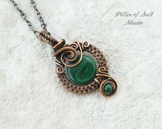Malachite Wire wrapped pendant necklace / Wire Wrapped jewelry