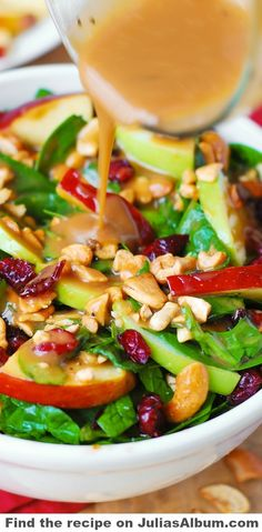 Apple Cranberry Spinach Salad with Balsamic Vinaigrette - healthy, delicious, vegetarian,gluten free recipe!