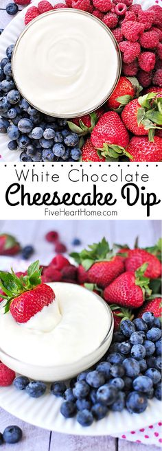 White Chocolate Cheesecake Fruit Dip ~ quick to make and quicker to disappear, this will become your new favorite fruit dip!   FiveHeartHome.com