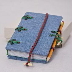 Jeans covered journal Hira Kara Emerald 4x6 от BlockOfNotes2