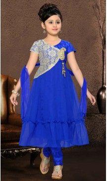 Girl's Blue Art Silk in Self Design Incredible Readymade Salwar Kameez