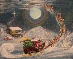 Folk Art Christmas Santa PRINT Up  Away Santa Sleigh by sunbyrum, $10.99