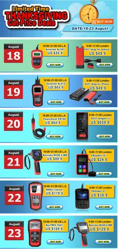 LIMITED TIME CUT-PRICE DEALS DURING 18-23 AUGUST In 18-23 August, we will start a thanksgiving cut-price deals activity which provides customers the cheapest price of a combination of Launch and Autel products in four hours each day.  http://www.autointhebox.com/news/limited-time-cut-price-deals-during-18-23-august.html