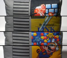 80's Retro Video Gaming Cartridge Pillow  Game Label  by NERDpillo