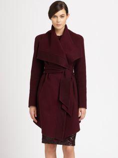 Donna Karan New York Red Draped Cashmere Coat