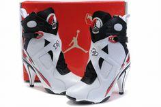 Nike Jordan 8 High Heels For Women White Black Red-Nike High Heels Jordan 8 Nike High Heels, High Heel Sneakers, Womens High Heels, Shoes Heels, Shoes Pic, Sneaker Heels, Nike Sneakers, Red Shoes, Strap Heels