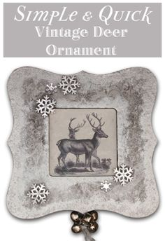 Simple and Quick Vintage Deer Christmas Ornament! - The Graphics Fairy #plaidcrafts @plaidcrafts