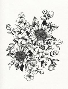Sunflower tattoo with leaves and the stem part wrapping around arm upper left arm no color